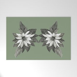 Florida Flower with Green Background Welcome Mat