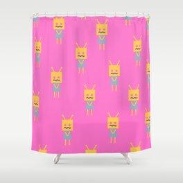 Shy Little Robot (pink) Shower Curtain