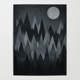 Dark Mystery Abstract Geometric Triangle Peak Wood's (black & white) Poster