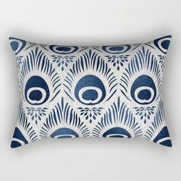 Peacock Damask Bohemian Indigo Denim Rectangular Pillow