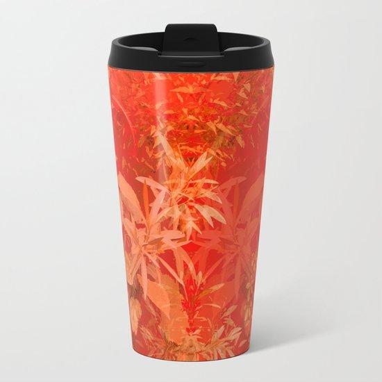 Beautiful red foliages - illustration of garden Metal Travel Mug