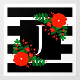 J - Monogram Black and White with Red Flowers Art Print