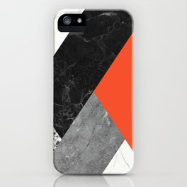 Black and White Marbles and Pantone Flame Color iPhone Case