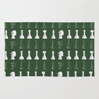 chess Area & Throw Rugs featuring Chess - Green by ijsw