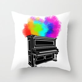 PIANO RAINBOW Throw Pillow