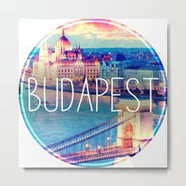 Budapest, Hungary, Chain Bridge Metal Print