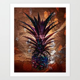 Copper Leaf Pineapple Art #buyart Art Print