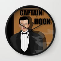 captain hook Wall Clocks featuring captain hook by snsemstlcp