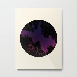 Tree Silhouette Against Purple Sky Circle Photo Frame Metal Print