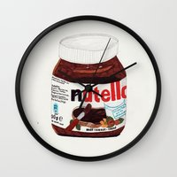 nutella Wall Clocks featuring Nutella by Angela Dalinger