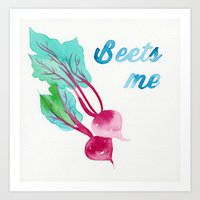 pun Art Prints featuring BEET PUN by Connie Cann