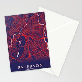 Paterson, NJ, USA, Blue, White, City, Map Stationery Cards