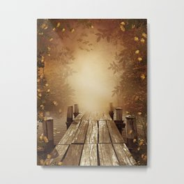 Autumn Fishing Pier Metal Print