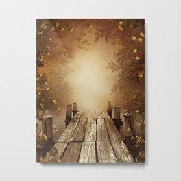 Autumn Fishing Pier Metal Print