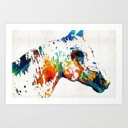 Colorful Horse Art - Wild Paint - By Sharon Cummings Art Print