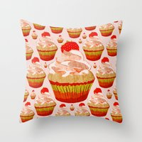 cupcakes Throw Pillows featuring Cupcakes by Alexandra Baker