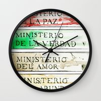 1984 Wall Clocks featuring Ministerios 1984 by Jorge Soriano