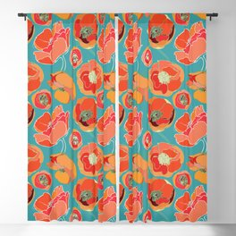 Turquoise California Poppies Blackout Curtain