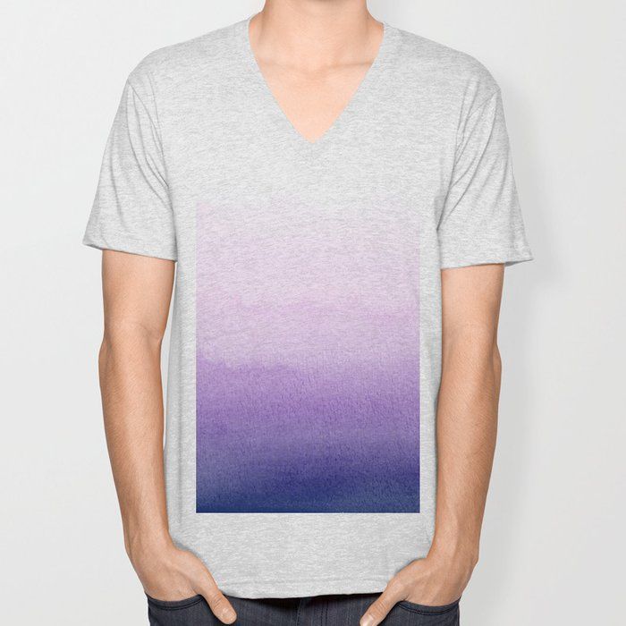 Purple Watercolor Design Unisex V-Neck