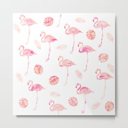 Trendy modern tropical pink watercolor flamingo tropical leaf pattern Metal Print