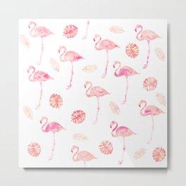 Trendy modern tropical pink watercolor flamingo tropical leaf pattern Metal Print