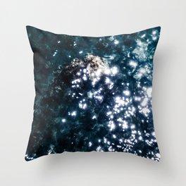 dark blue ocean with sprakle Throw Pillow