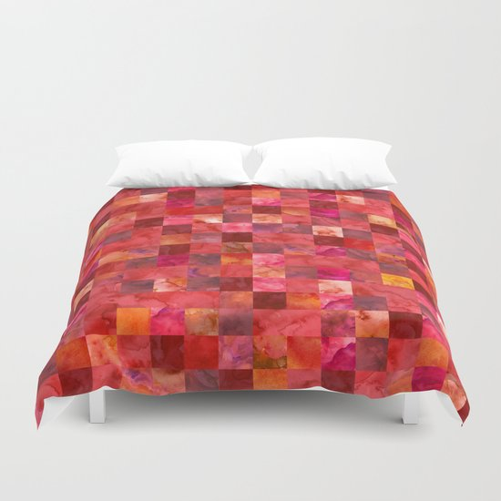 Red Geometric Pattern Duvet Cover