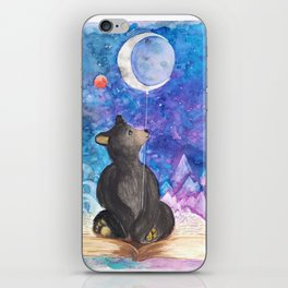 Surreal Bear Cub with Moon Balloon, Books and Imagination iPhone Skin