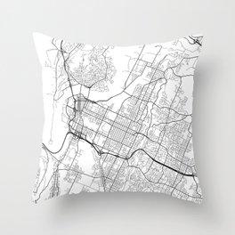Chattanooga Map, USA - Black and White Throw Pillow