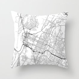 Chattanooga Map, USA - Black and White Throw Pillow