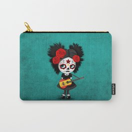 Day of the Dead Girl Playing Spanish Flag Guitar Carry-All Pouch