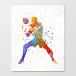 Volley ball player man 02 in watercolor Canvas Print
