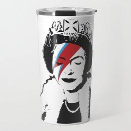Queen Elizabeth As Ziggy, Banksy, Streetart Street Art, Stardust Grafitti, Artwork, Design For Men, Travel Mug