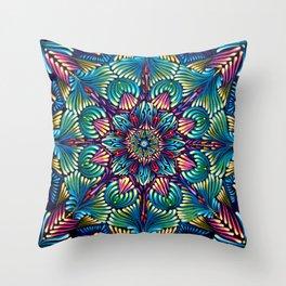 Kaleidoscopic Mandala Throw Pillow