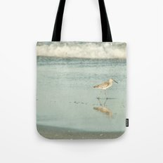 Exit Stage Right -- Willet Foraging Shallow Surf at the Beach Tote Bag
