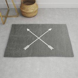 gray crossed arrows Rug