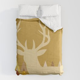 Deer Head Geometric Triangles | mustard yellow taupe Comforters