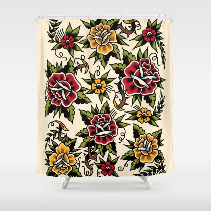 Flower Tattoo Shower Curtain