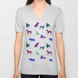 Dog Pattern Unisex V-Neck