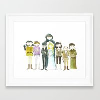 princess bride Framed Art Prints featuring Princess Bride Cast Cartoon by Newspaper Balloon