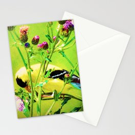 Goldfinch Yellow Bird Purple Flowers A101 Stationery Cards