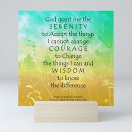 Serenity Prayer Green Gold Sunrise Mini Art Print