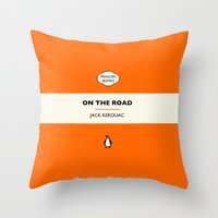 kerouac Throw Pillows featuring Penguin Book / On The Road - Jack Kerouac  by FunnyFaceArt