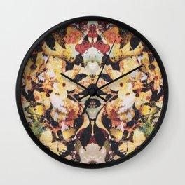 Rorschach Flowers 5 Wall Clock