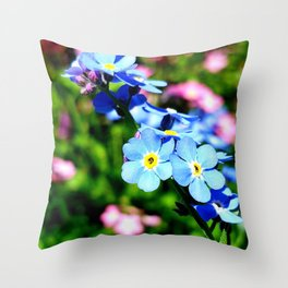 Pink And Blue Forget Me Nots Throw Pillow