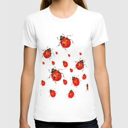 RED LADY BUGS  SWARM  ON WHITE COLOR T-shirt