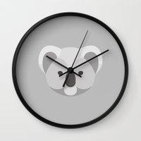 koala Wall Clocks featuring Koala by William McDonald