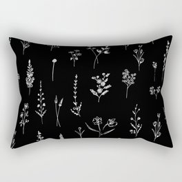 Black wildflowers Rectangular Pillow