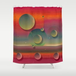 """""""Pastel planets Fantasy Sci-fi"""" Shower Curtain"""