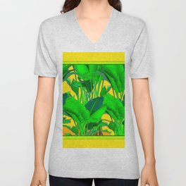 YELLOW GREEN & GOLD TROPICAL  GREEN FOLIAGE ART Unisex V-Neck